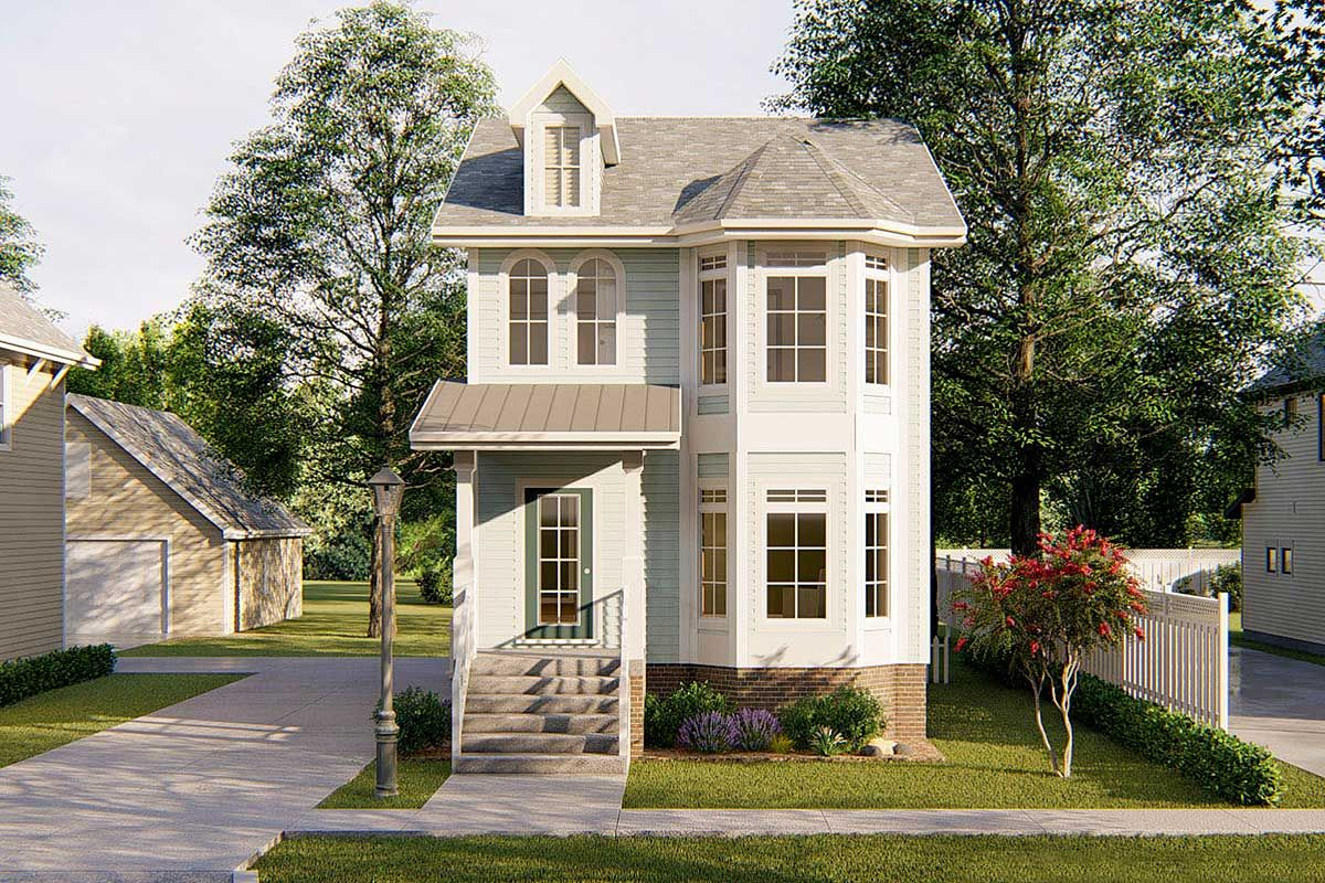 Plan 62557dj Narrow Lot Townhouse In 2021 Victorian House Plans Two Story House Design House With Balcony