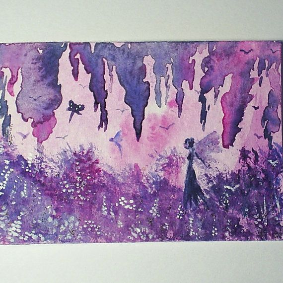 aceo original fairy grotto by teabreaks on Etsy, $5.00