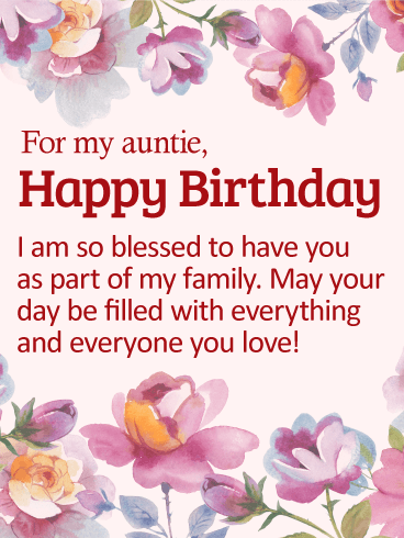 So Blessed To Have You Happy Birthday Card For Aunt On Her