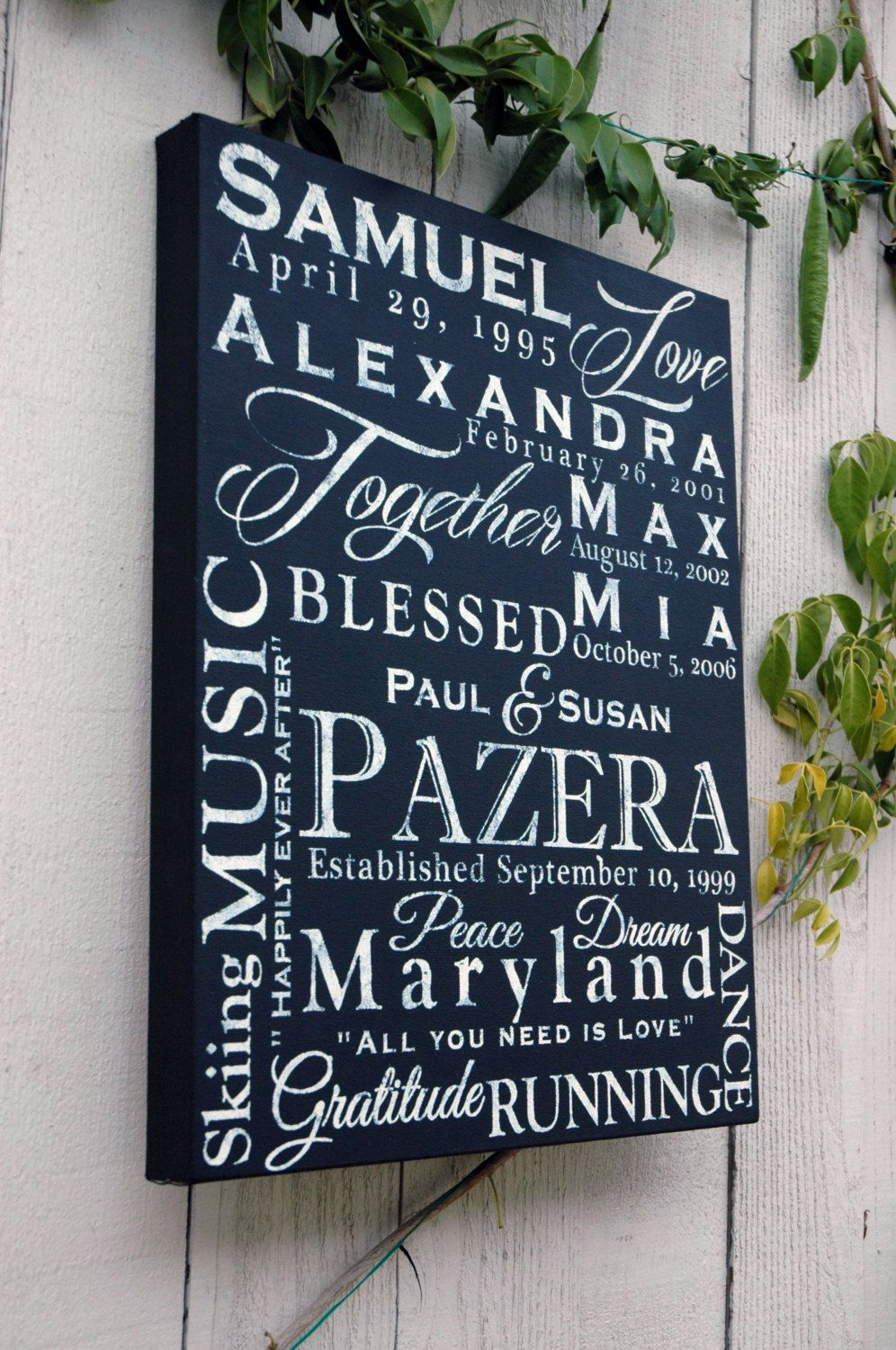 Personalized 16x20 Family Name Word Collage On Canvas Custom Wall Hanging Sign Decor 150 00 Personalized Canvas Art Word Collage Personalized Family Canvas