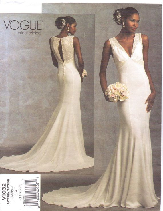 Vogue Bridal Original Pattern V1032 Womens V Neckline Wedding ...