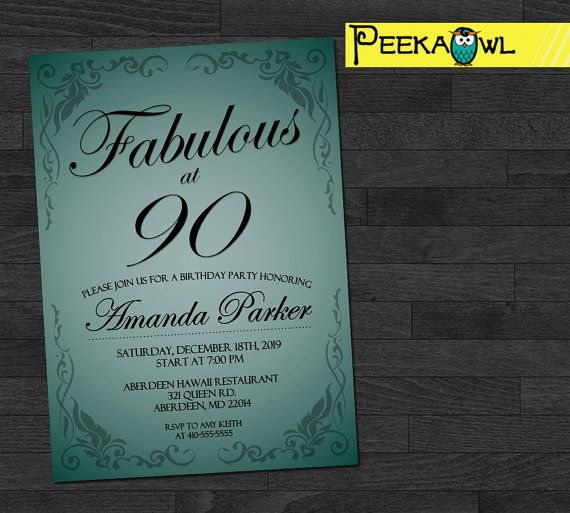 Customized 90th Birthday Invitation