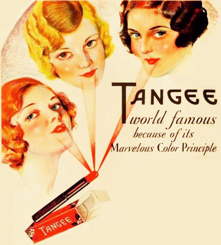 Tangee lipstick - world famous because of its marvelous colour principle (should you be curious, Tangee is still on the market today). #vintage #1930s #makeup #lipstick #ad #beauty