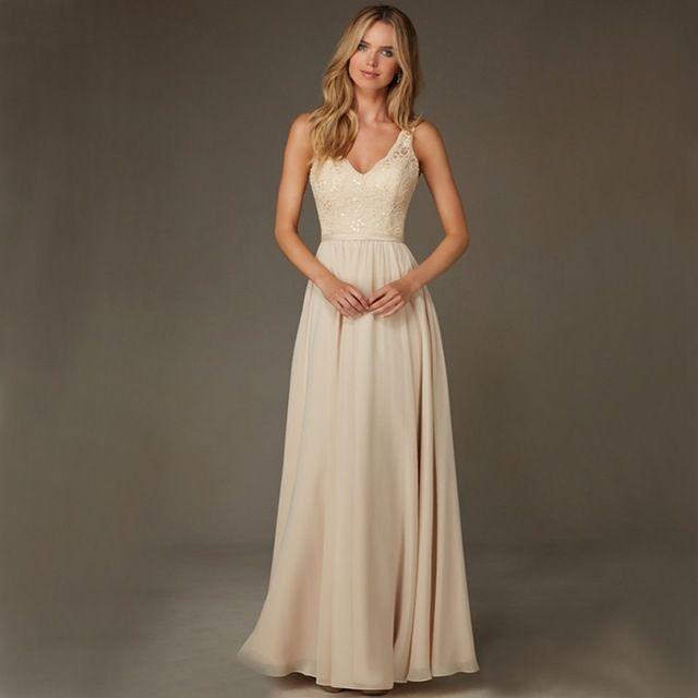 2016-Romantic-barato-Beige-A-Line-vestido-de-noche-largo-con-Sexy-v