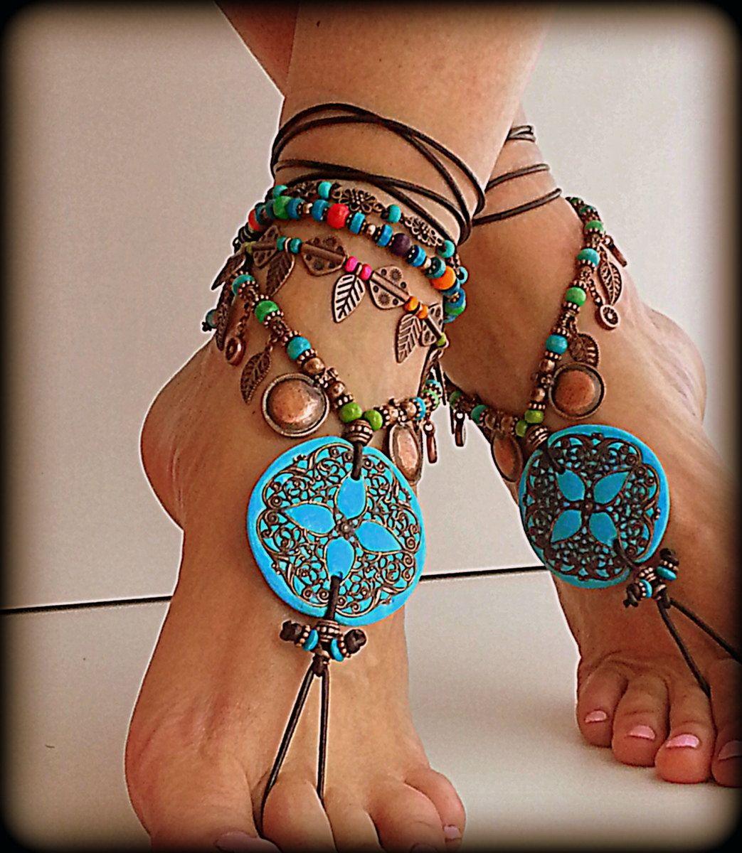 Mandala Barefoot Sandals Boho Anklet Belly Dance Foot