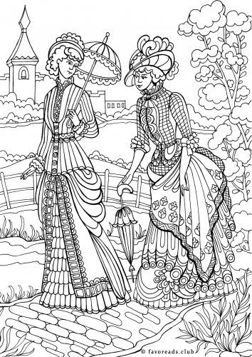 Victorian women on a walk coloring page