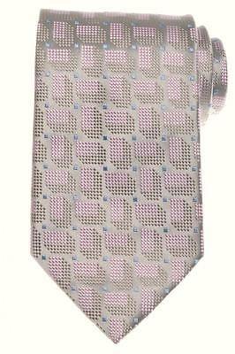 SALE Charvet Tie Silk 57 1/4 x 3 5/8 Gray Pink Blue Geometric 12TI0198 $235