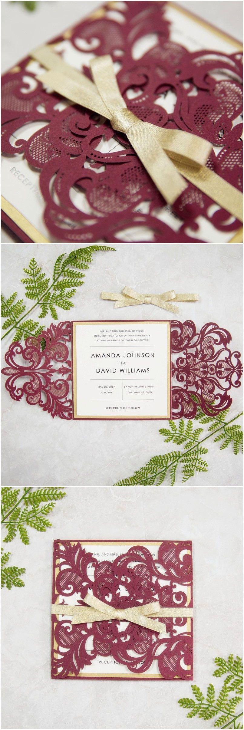Maroon and cream wedding decor  Elegant Burgundy and Gold Laser Cut Wedding Invitations SWWS