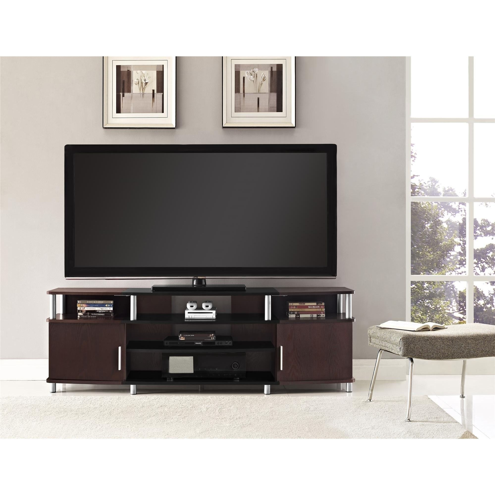 Ameriwood Home Carson Cherry 70 Inch Tv Stand Cherry Black