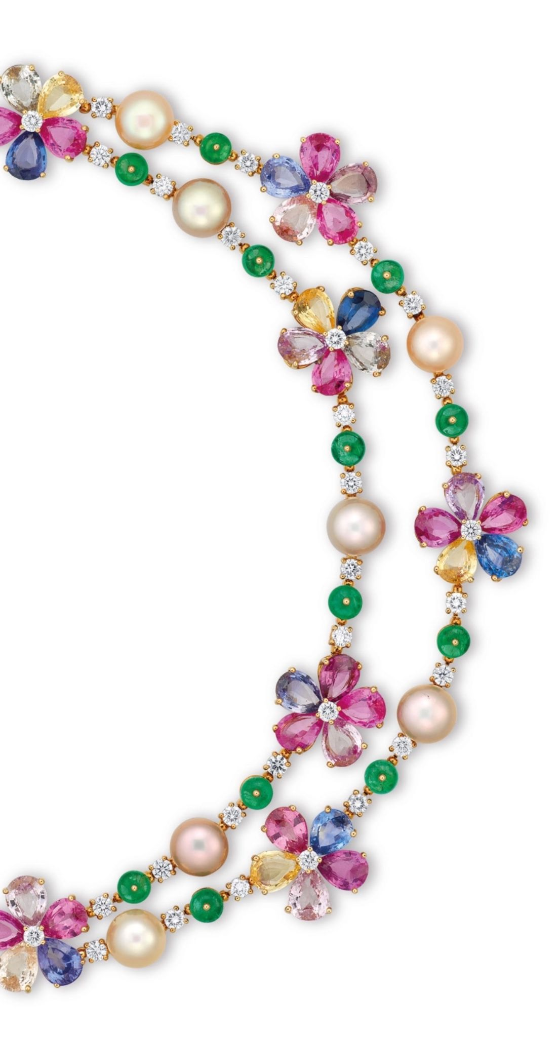 A multigem necklace by bulgari the front designed as two swags of