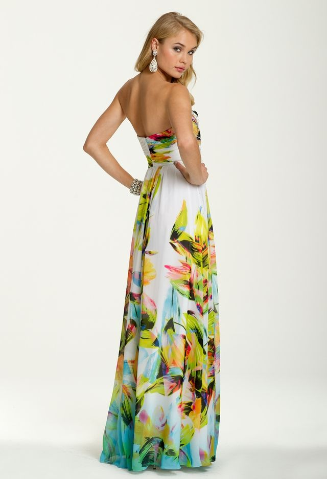 Strapless Tropical Print Dress from Camille La Vie and Group USA ...