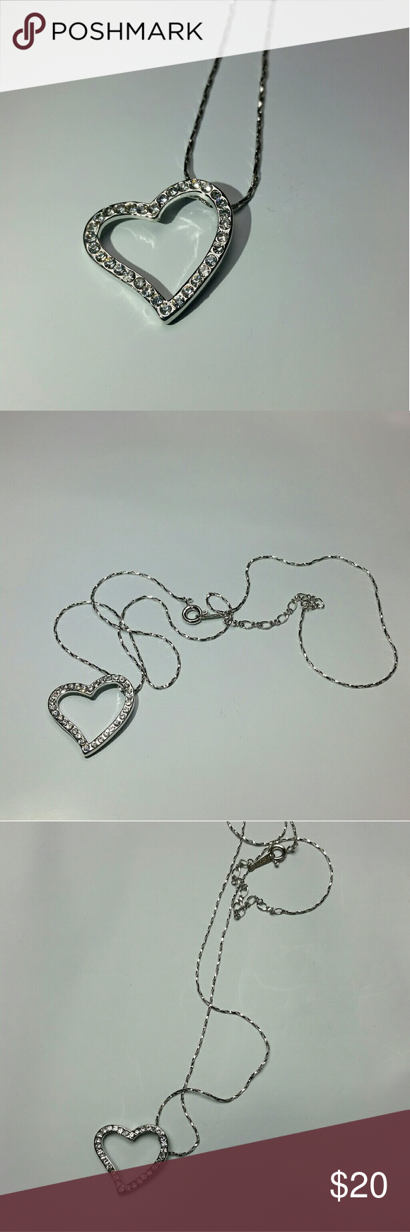 Love pendant necklace rhinestones crystals Love heart pendant charm with rhinestones crystals.  Stamp 18KRGP. It's 18 karat white gold plated.  Very elegant necklace. Chain is box twisted. About 17-18 inches long. Medium long. With round ring springy lock. Jewelry Necklaces