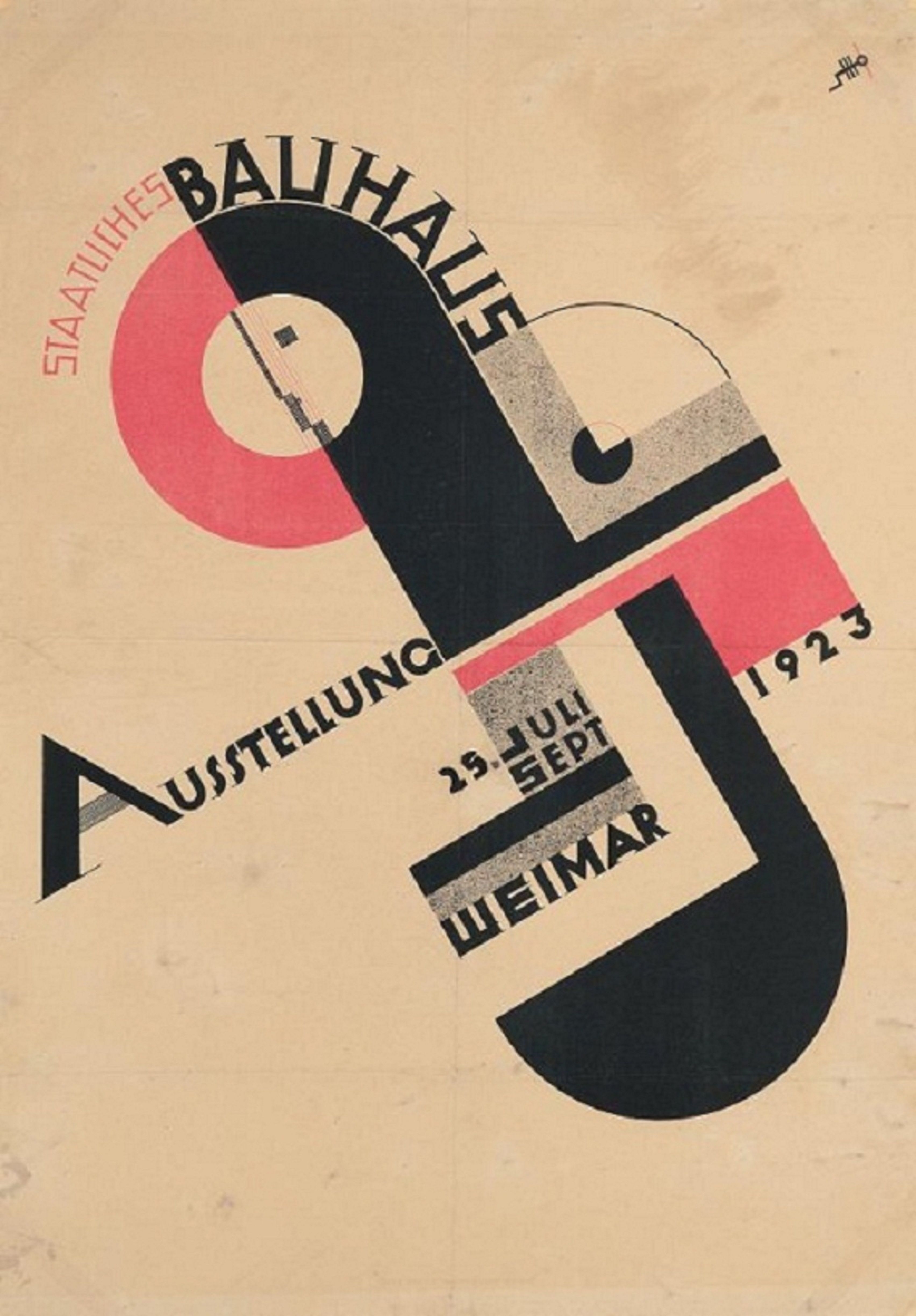 joost schmidt, poster for the 1923 bauhaus exhibition in weimar
