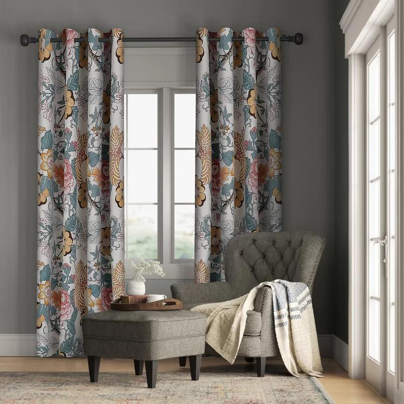 Bulah Floral Room Darkening Thermal Curtain Panels Floral Room Rod Pocket Curtain Panels Panel Curtains