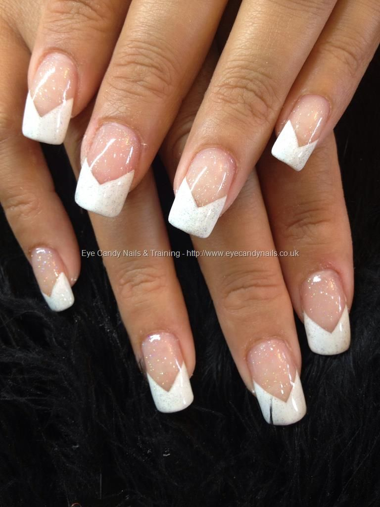 Acrylic Nails With White Chevron French Gel Polish And