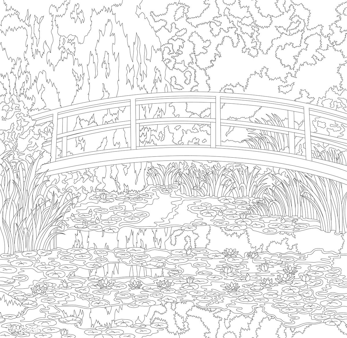 The Water Lily Pond 1899 By Claude Monet Adult Coloring Page