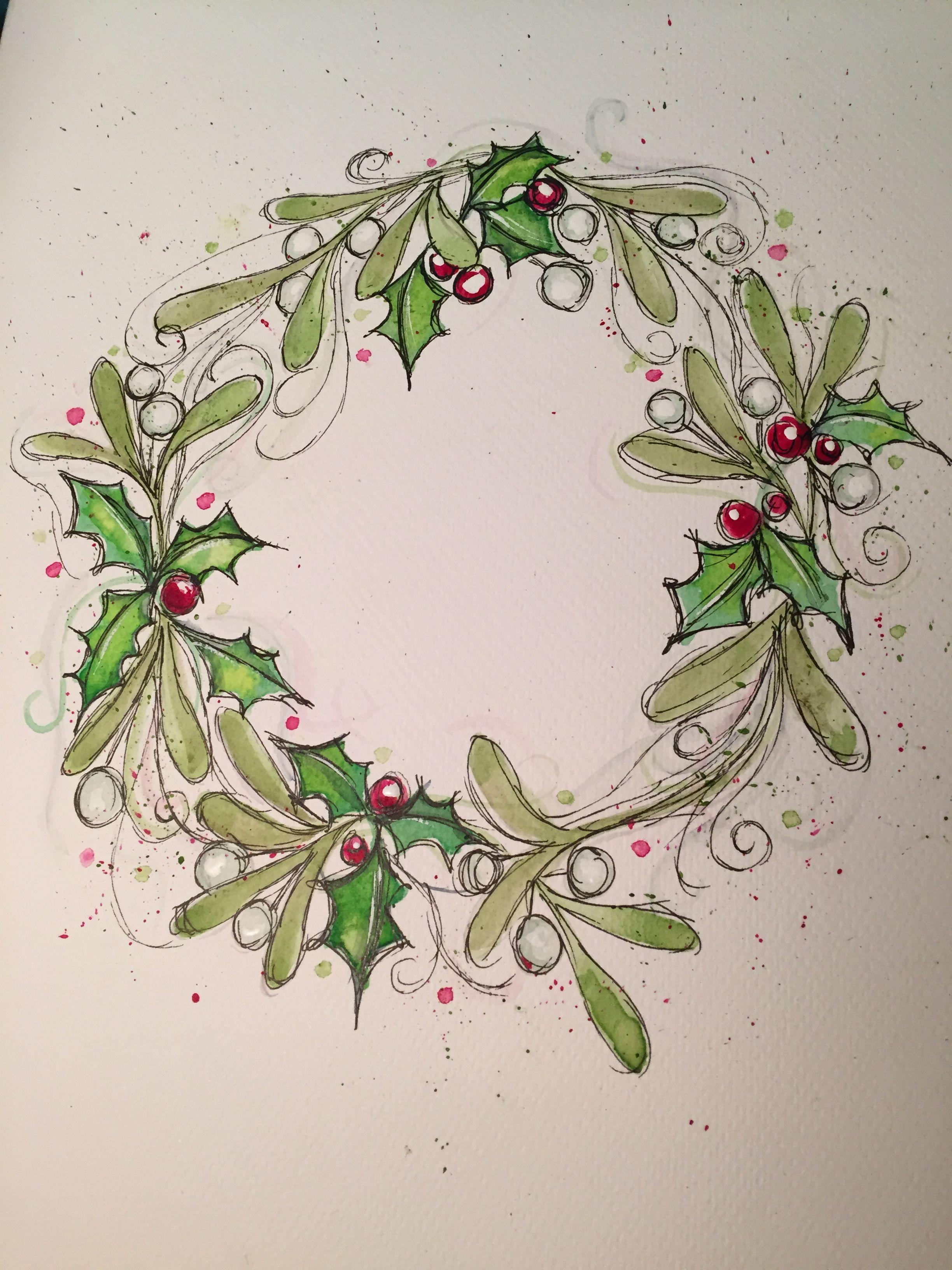Watercolor Christmas card wreath Holly and mistletoe
