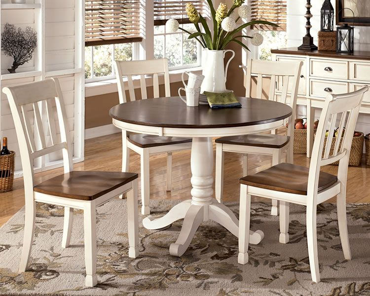 Charmant White Dinette Sets | Whitesburg White Cottage Dining Set With Round  Pedestal Table
