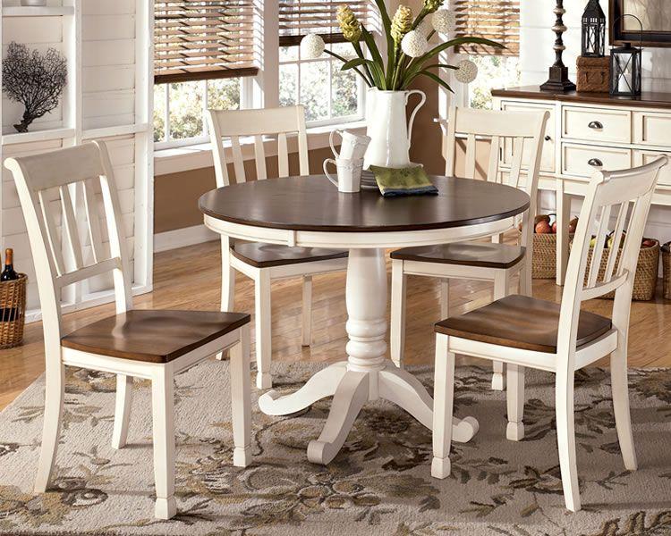 Whitesburg White Cottage Dining Set With Round Pedestal