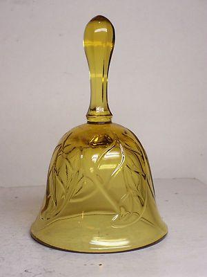 Vintage Viking Glass Bell Amber Color Leaf Pattern