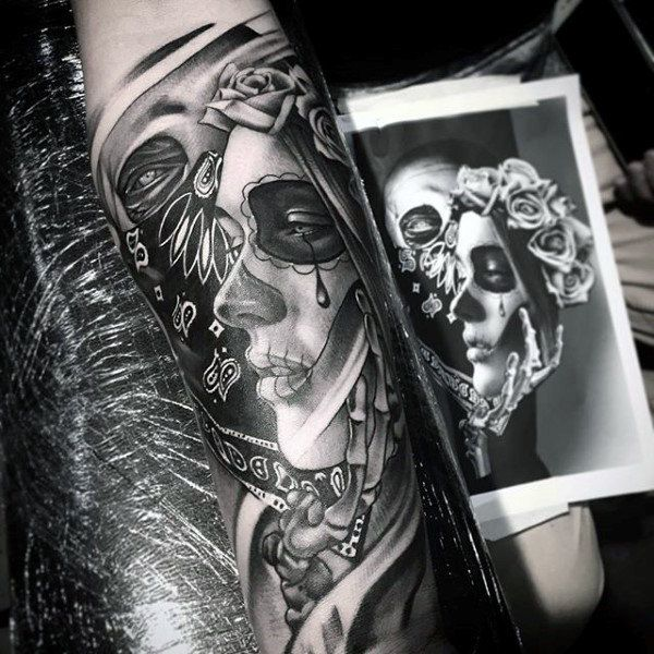 Male Forearms Day Of The Dead Woman With Tear Tattoo
