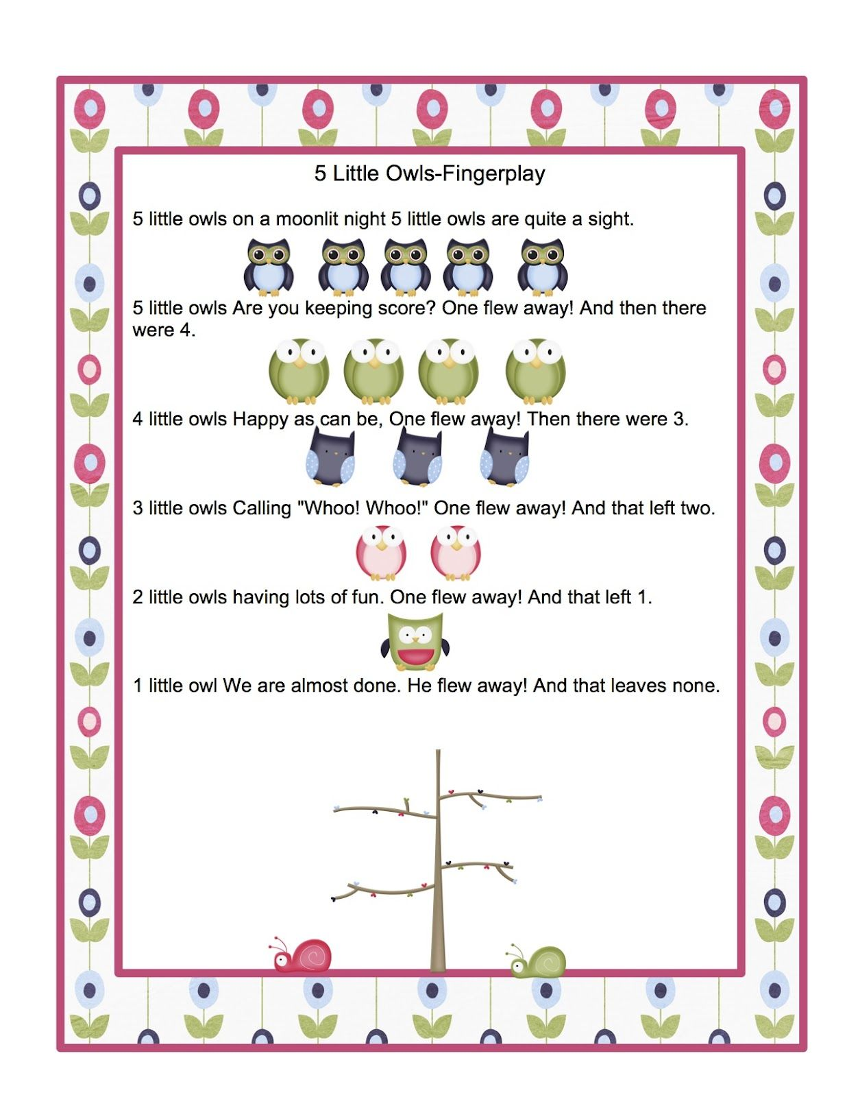 preschool bird songs and fingerplays preschool printables free owl songs printable classroom 689