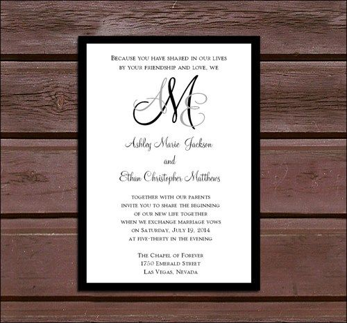 monogrammed wedding invites google search - Wedding Invitations With Rsvp