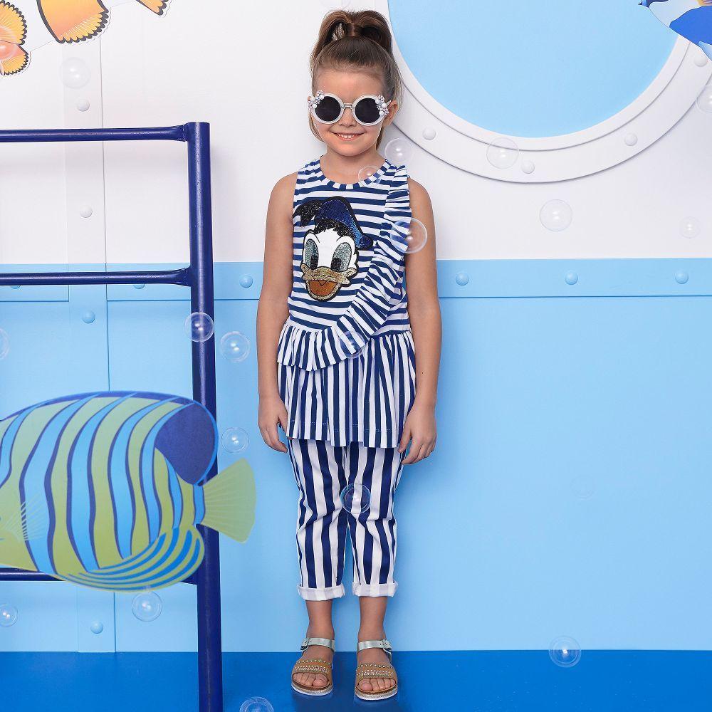 772c56957 Girls Blue Stripe Disney Dress