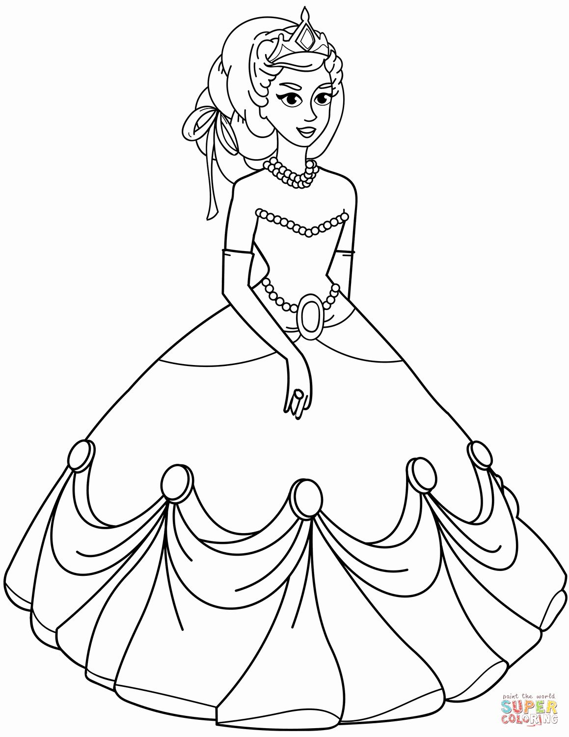 Coloring Pages For Kids Princess Fresh Princess In Ball Gown Dress Coloring Page Princess Coloring Pages Princess Coloring Sheets Princess Coloring