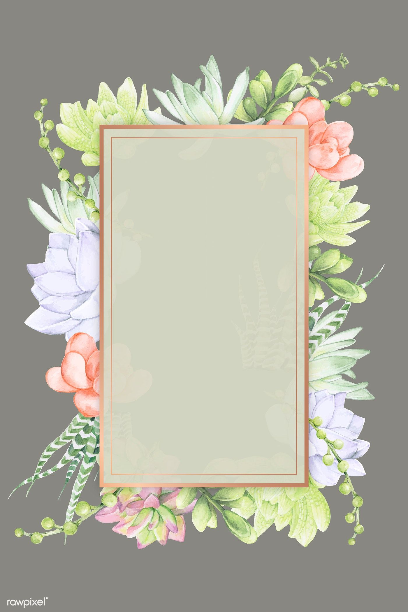 Download Premium Vector Of Hand Drawn Succulent Recrangle Frame Template Frame Template How To Draw Hands Flower Background Wallpaper
