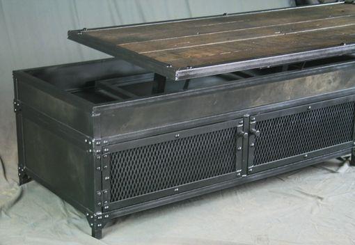 Custom Made Vintage Industrial Lift Top Coffee Table. Reclaimed Wood U0026 Steel.  Metal Patina. Barnwood.