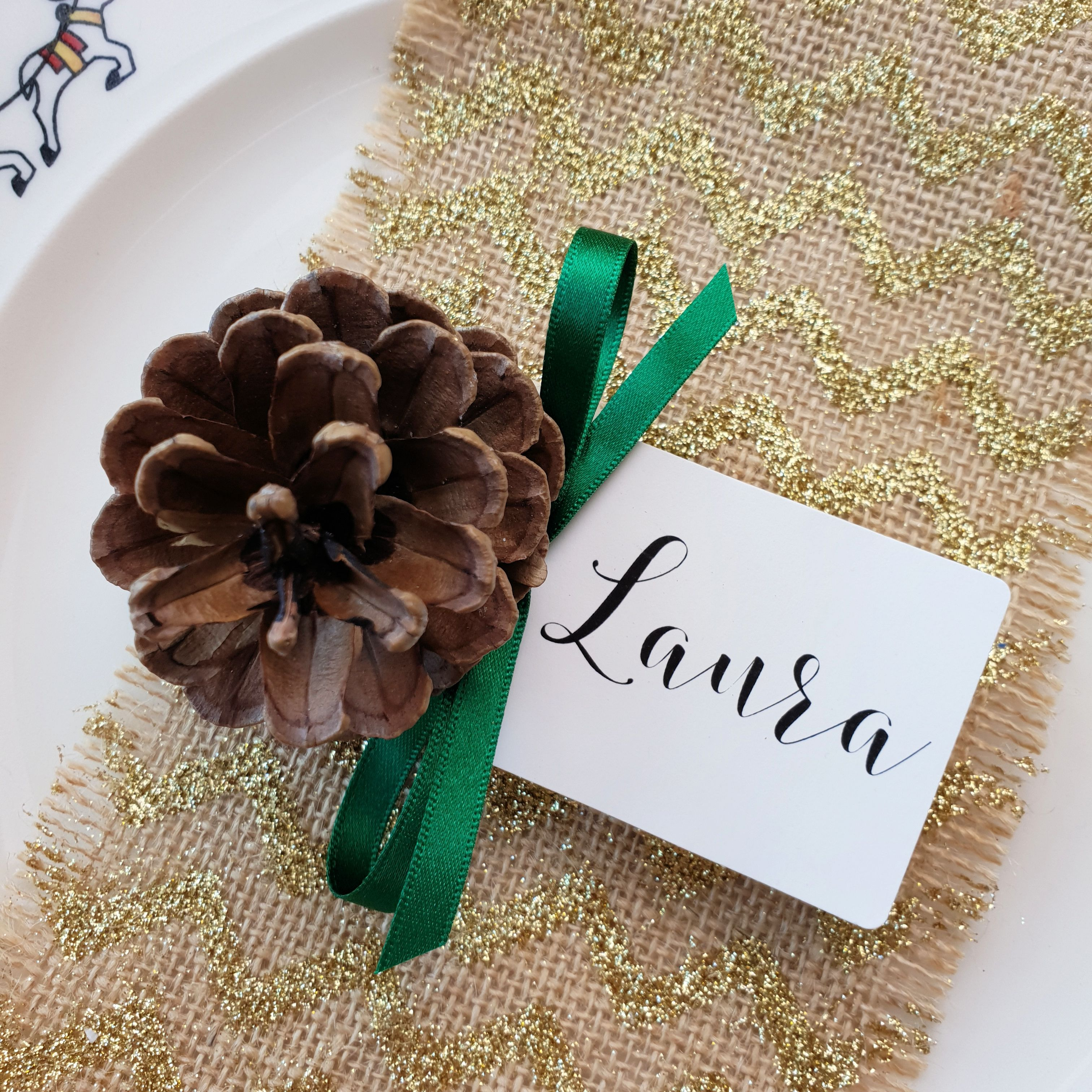 Christmas Place Cards. Handmade and Personalised Pine Cone ...