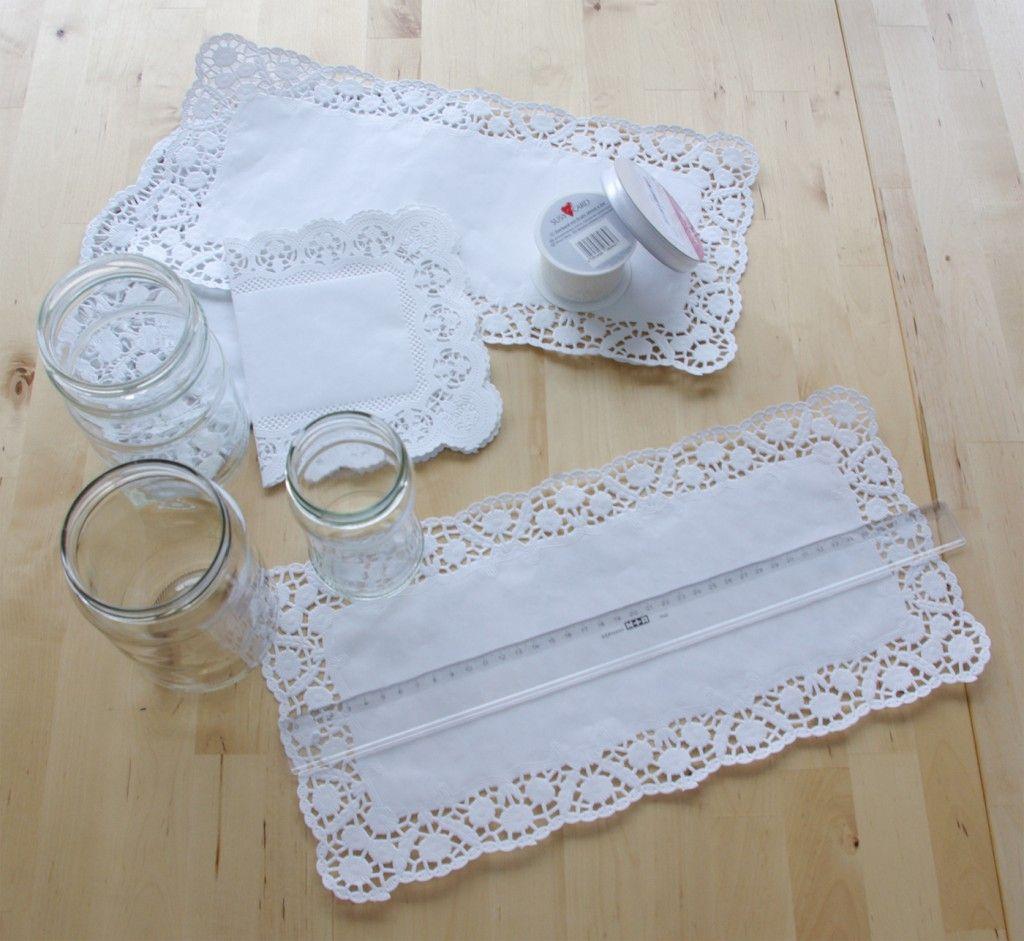 Hochzeits-Special Windlichter Kerzen Deko Glas Spitze DIY Anleitung ...