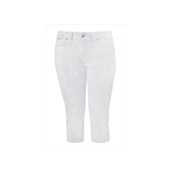 White Capri Style Crop Jeans ($12) ❤ liked on Polyvore