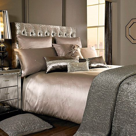 Kylie Minogue at home Taupe embellished 'Miriana' bedding ...