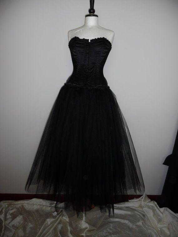 bcd9bad332 long black tulle tutu skirt full length adult gothic fairy wedding prom  burlesque rockablly skirt US plus size 18 20 22 24