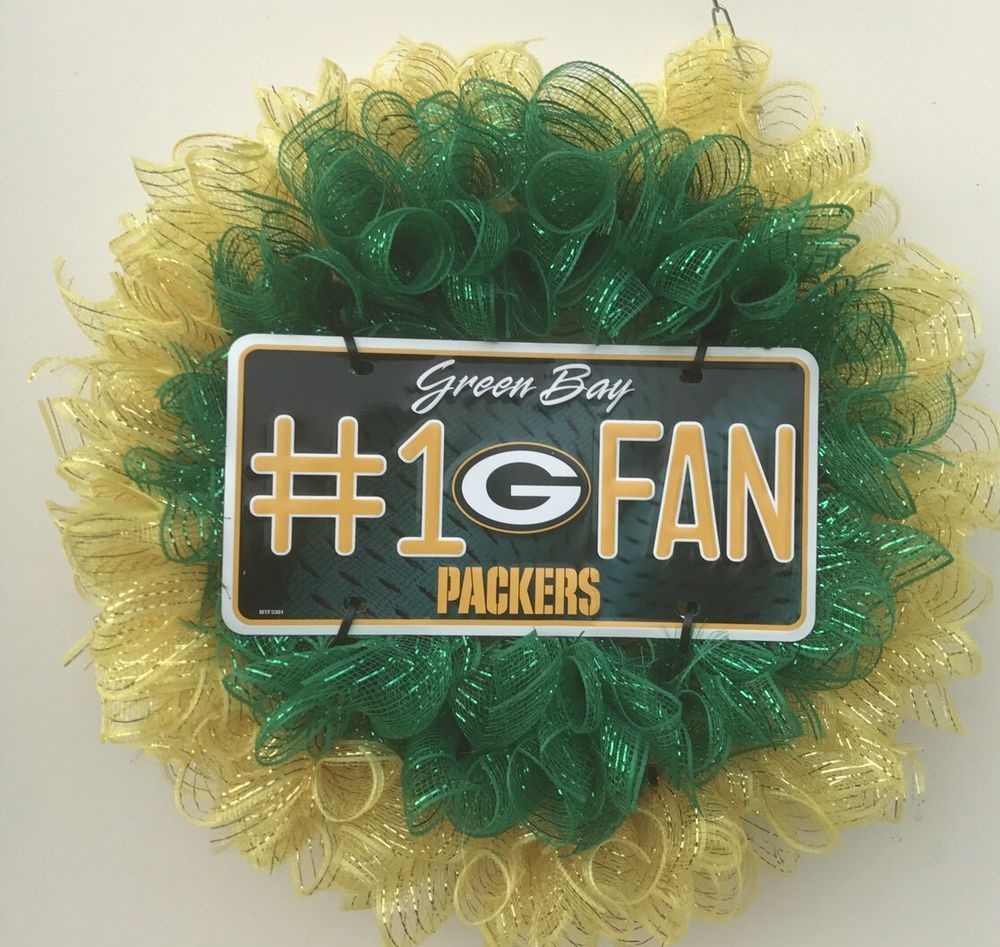 Green Bay Packers Deco Mesh Wreath Ebay Deco Mesh Wreaths