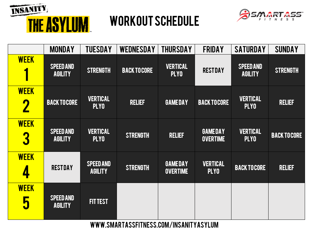 Insanity Asylum Workout Schedule