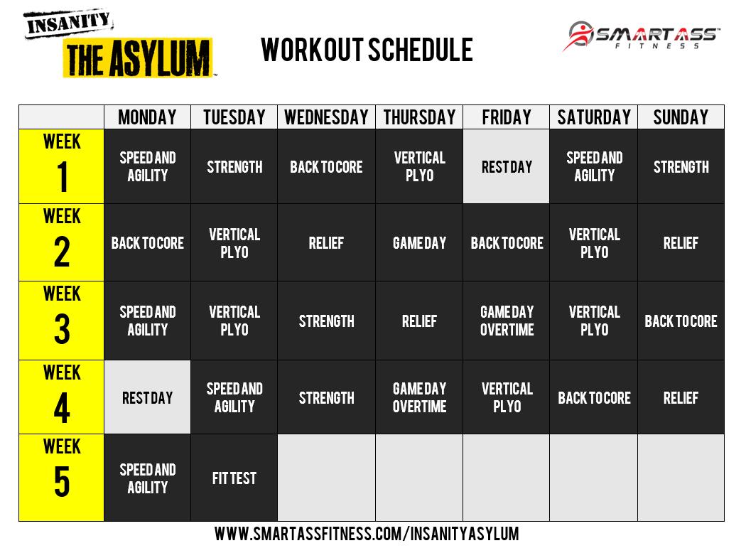 Insanity Asylum Workout Calendar