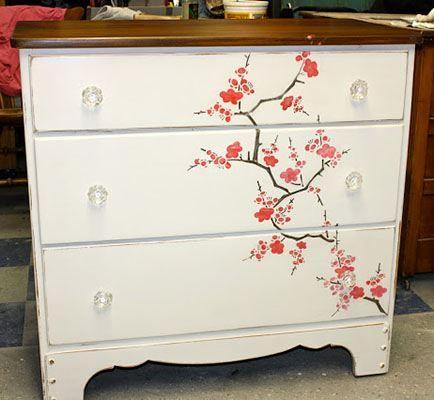 Cherry blossoms stencil meubles peinture sur bois d corative et d co maison - Peinture decorative meuble bois ...