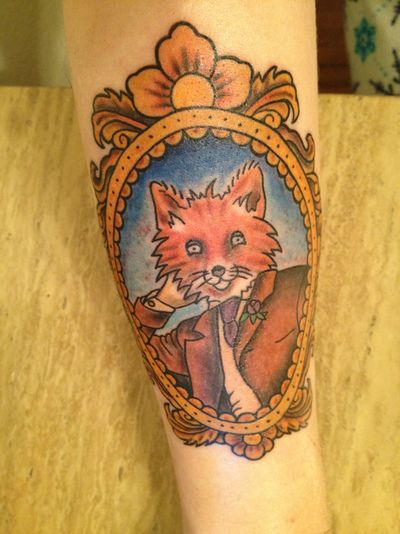 freshly tattooed gentleman fox by Donzo at Idol Time tattoo in tulsa, ok