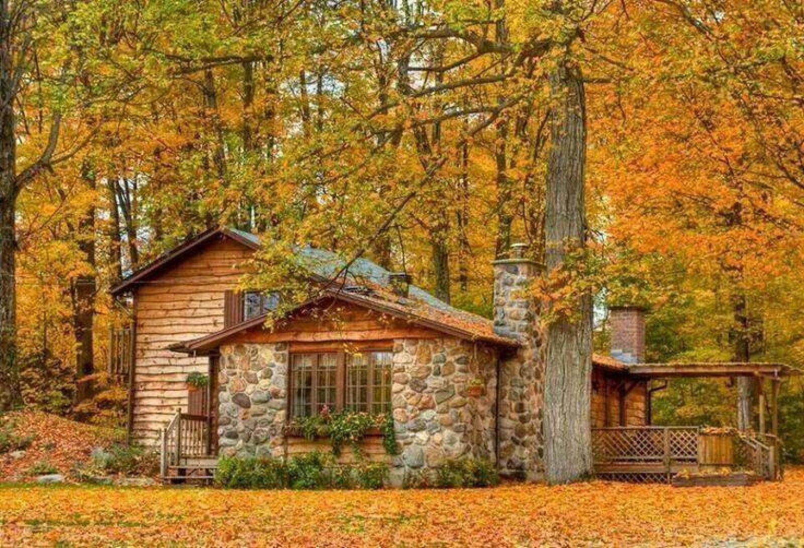 картинки осень на загородном доме нам