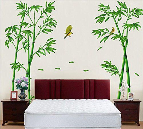 winhappyhome Bambus gelb Bird Art Wand Aufkleber für Coffee Shop - bambus im wohnzimmer
