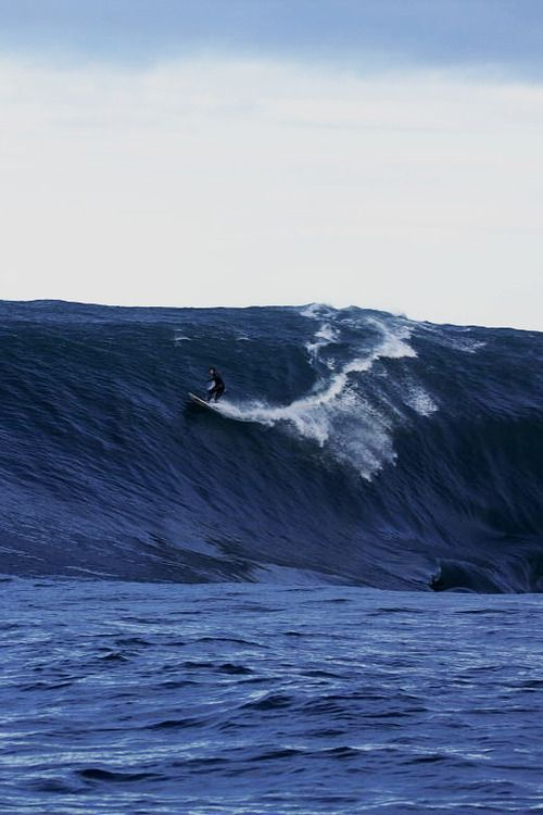 You almost get the sense he's hoping not to be discovered by the wave, until its' missed its' chance….