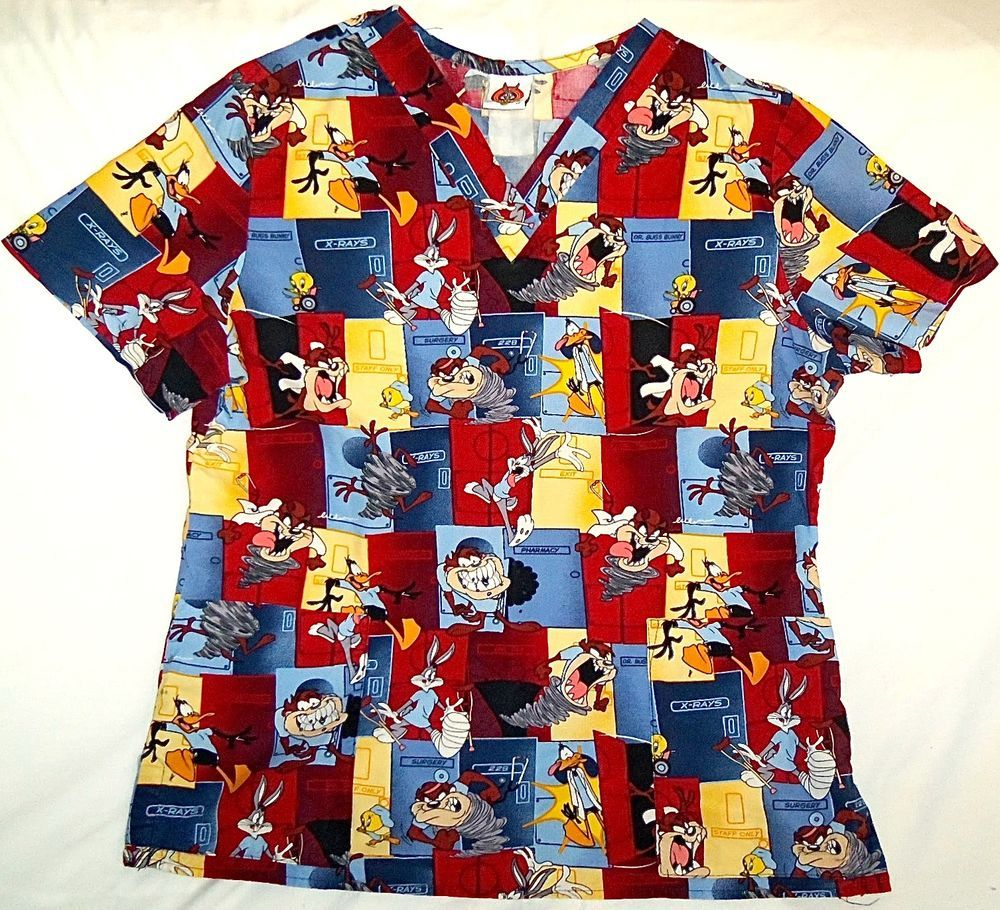 002f3252 ... Looney Toons Working: Scrubs Shirt Top Looney Tunes Nursing Vet  Tasmanian