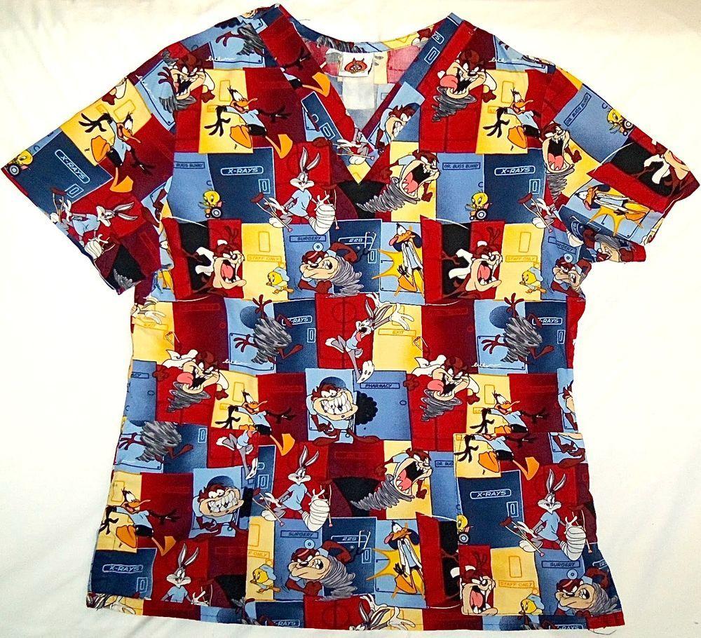 Scrubs Shirt Top Looney Tunes Nursing Vet Tasmanian Tazmanian Devil Woman Medium #LooneyTunes