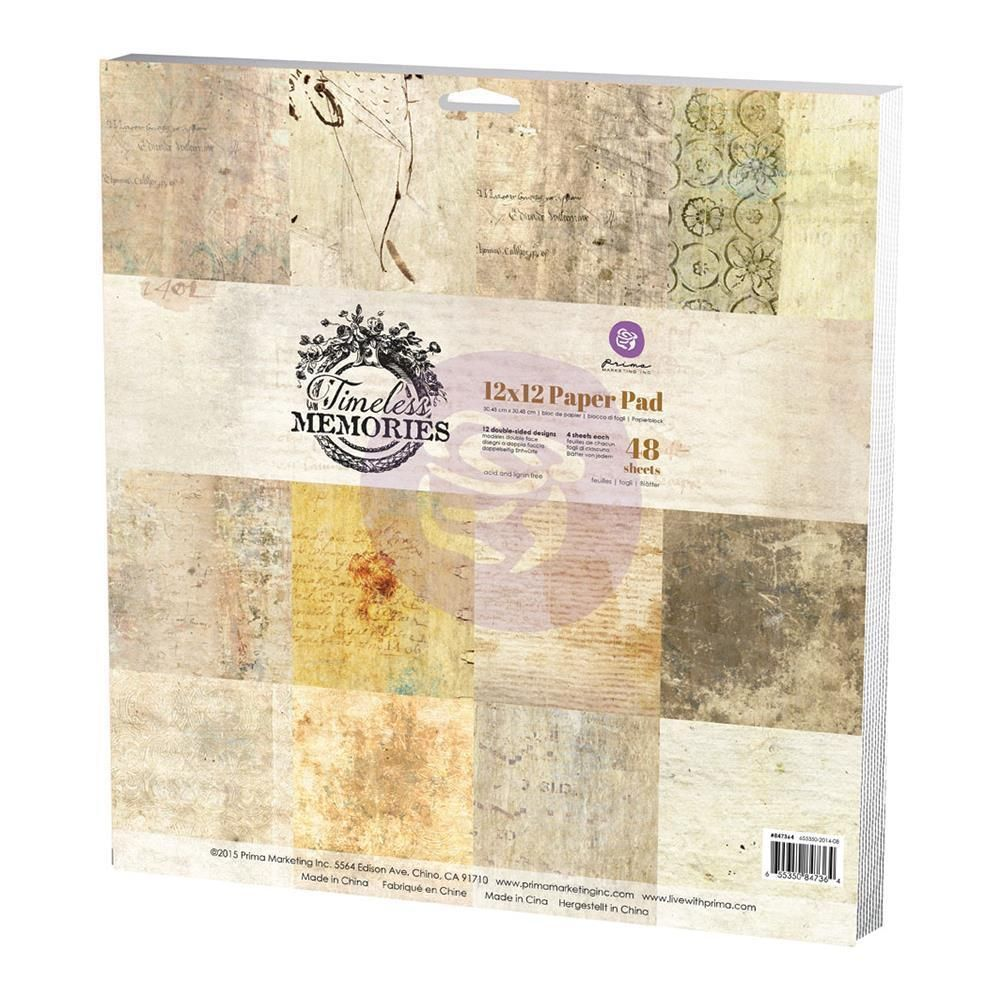 Prima Marketing Timeless Memories 12x12 Double Sided Paper Pad New Cardstock Paper Crafts Paper Pads Scrapbook Paper
