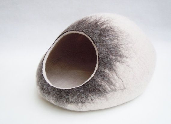 Pet bed / Cat bed / Cat cave / puppy bed / cat house / pet furniture / cat nap cocoon. Felted cat bed xs, s, m, l, xl or xxl size