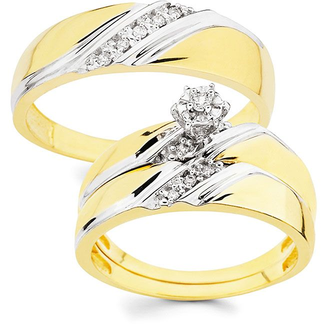 10k Gold 1 10ct Tdw His And Her Wedding Ring Set Diamond Wedding Rings Sets Wedding Ring Sets Cheap Wedding Rings Sets