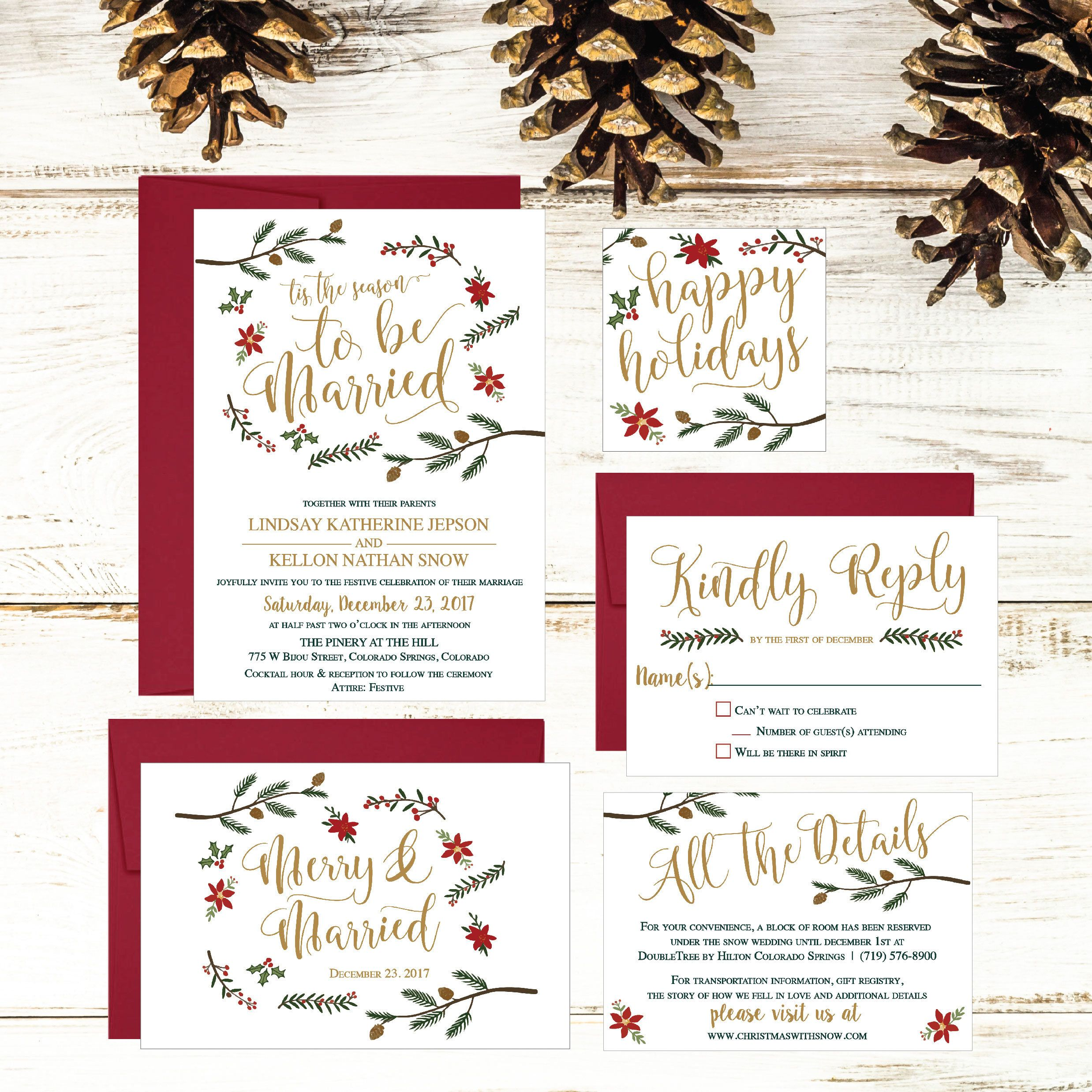 christmas wedding invitation holiday wedding invite christmas wedding stationery